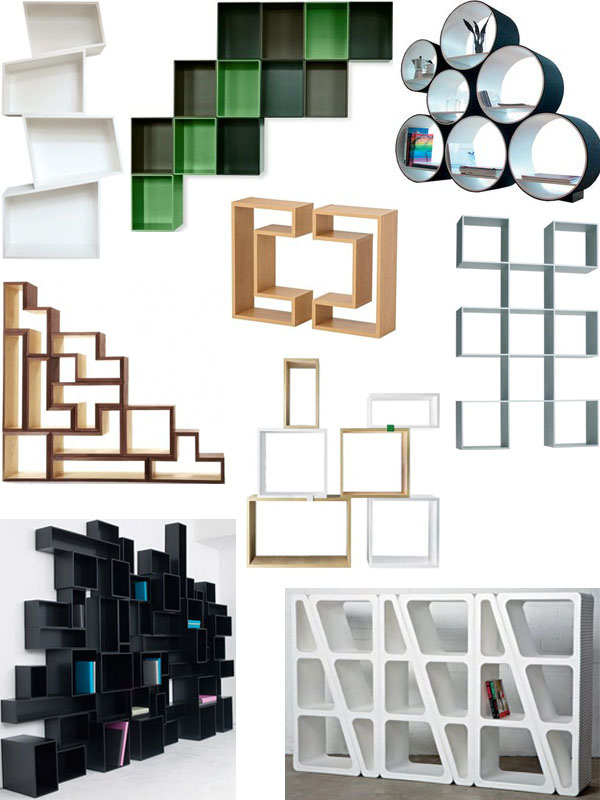 {from top left: tall white, green block, black circular, white block, white  triangle, black modular, wood corner, wood square pair, wood/white modular}