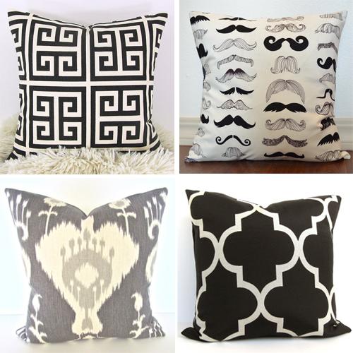 monochrome throw pillows