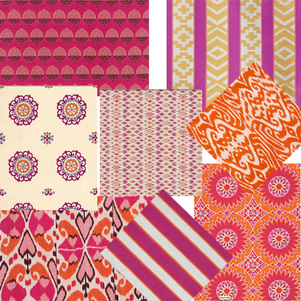 ethnic pink and orange fabrics