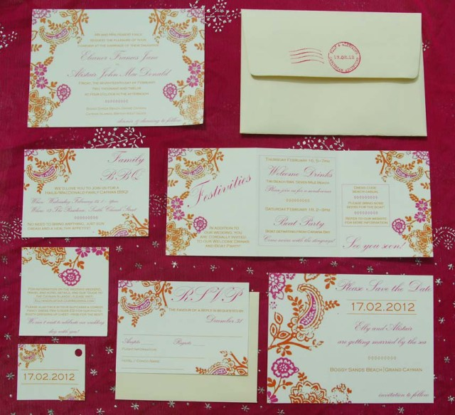 Indian style wedding stationery