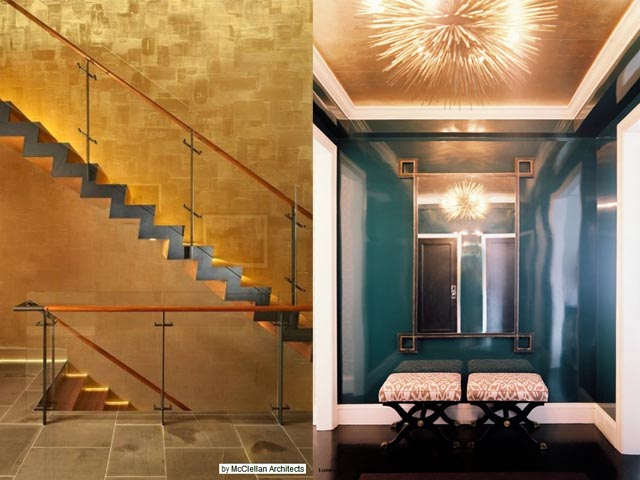 interior design gold leaf wall4