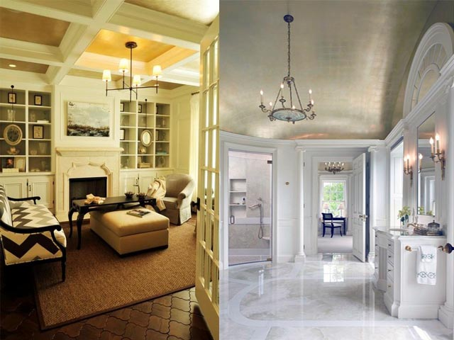interior design gold leaf wall5