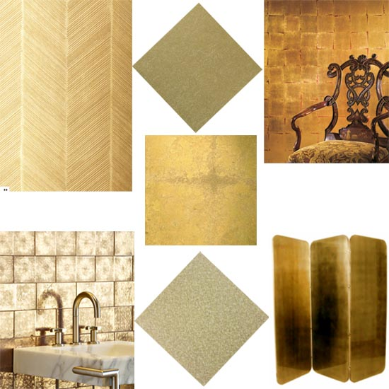 interior design shopping guide gold leaf wall treatment