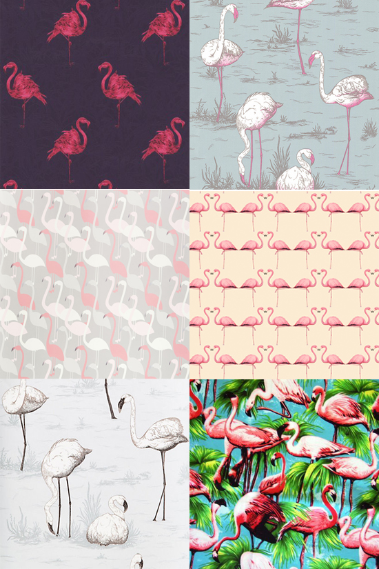 interior design flamingo wallpaper and fabrics