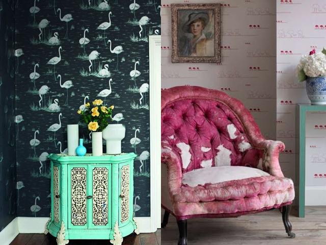 interior design flamingo wallpaper1