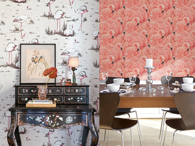 interior design flamingo wallpaper2