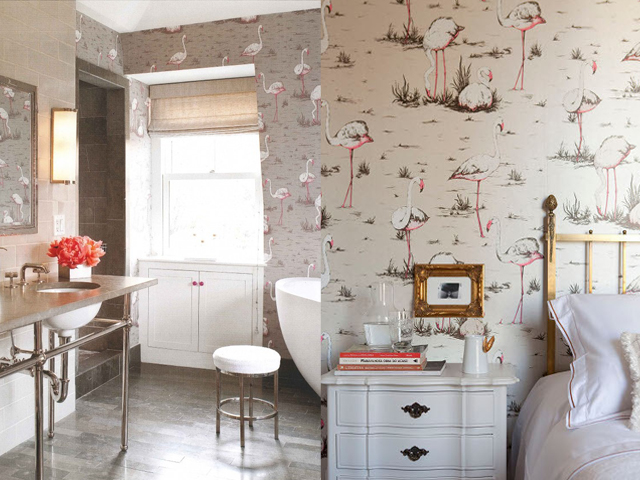 interior design flamingo wallpaper3