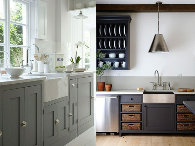 Fine Modern Farmhouse Kitchen Dark Cabinets Stained Beam But