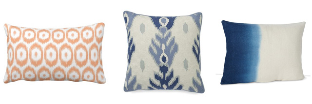 peach indigo ikat pillows
