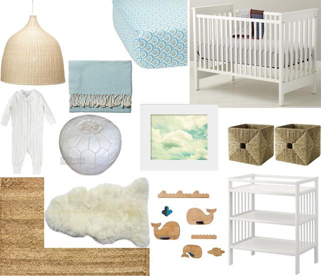 interior design white blue nursery